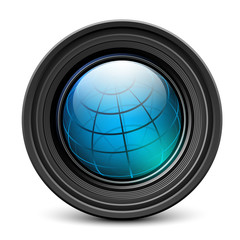 Photo camera lens with earth globe inside