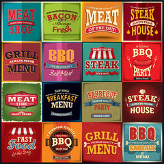 Vintage BBQ meat poster design set
