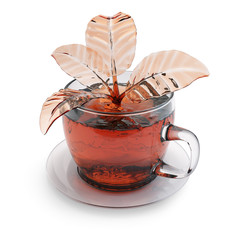 Cup of tea with splash in a form of leaves