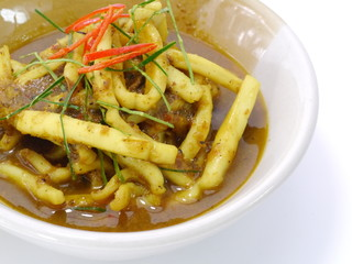 Fried squid curry. Thai food.