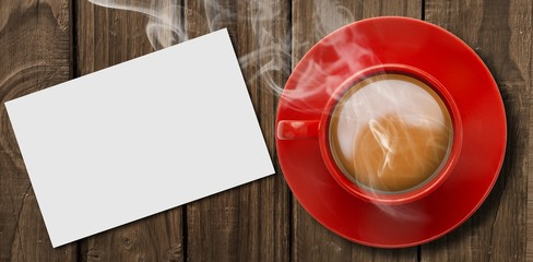 Wall Mural - Composite image of red cup of coffee