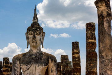 Ancient Buddha Statue in Ancient Thai Temple.