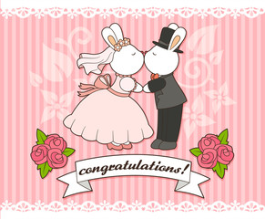 wedding card template with bunny bride and groom