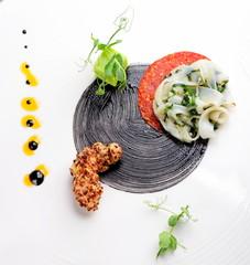 Haute cuisine, Gourmet appetizer, squid, shrimp tempura