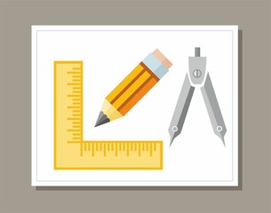 Drawing, ruler, pencil, colored flat illustration.