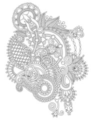 black line art ornate flower design