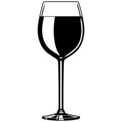 Weinglas, Rotwein, Wein, Vektor, schwarz-weiß, freigestellt