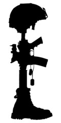 Silhouette of the cross of the fallen soldier.