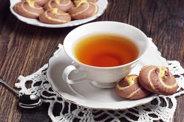 Tea with sweet cookies