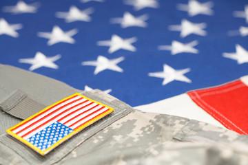 USA army uniform with stripe over flag - focus on stripe