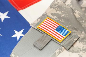 USA army uniform with chevron over flag - focus on chevron