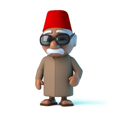 3d Moroccan man wearing a fez