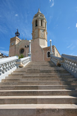 Church of Sitges, small village mediterranean in Catalonia.Spain