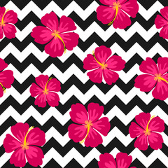 Hibiscus Flowers and Chevron Seamless Pattern