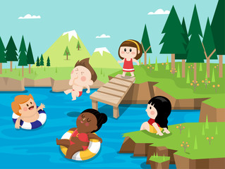 Vacation in a mountain stream for summer