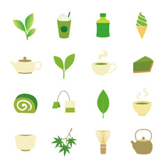 Green tea icons
