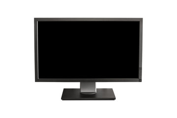 computer display with black blank screen - isolated on white background