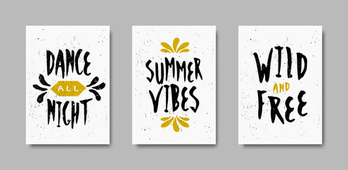 Typographic Summer Design Cards Collection