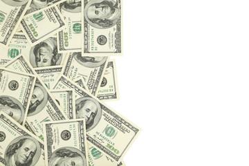 Hundred dollars bill on white background