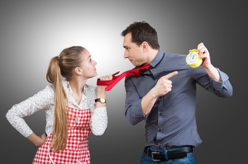 Married couple fighting about housework