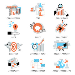 Business Icons Set - Isolated On White Background - Vector Illustration, Graphic Design, Editable For Your Design