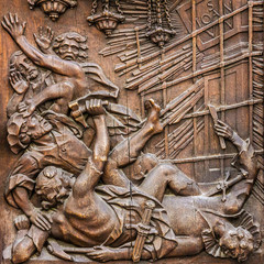 Carving wood icon in Munich, Germany