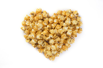 Love Popcorn isolated on a white background with shadow