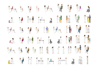 Medical Staff And Patients Different Situations - Isolated On Mosaic Background - Vector Illustration, Graphic Design Editable For Your Design