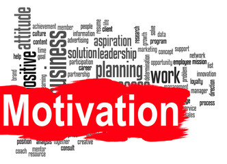 Motivation word cloud with red banner