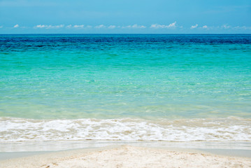 Close up on the edge of a beach with turquoise water