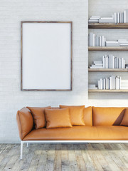 Mock up poster on brick wall, leather sofa, 3d illustration