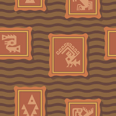 Seamless background with American Indians relics