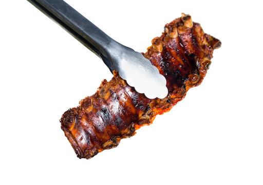 Delicious ribs on white background