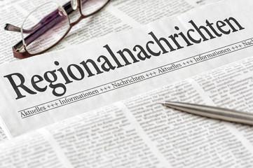 Zeitung mit der Überschrift Regionalnachrichten