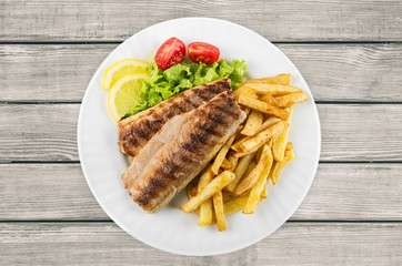 Fish, French Fries, Grilled.