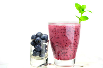 glass of Fresh Blueberry smoothie