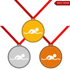 Medal with the symbol of swimming people inside.Vector Illustrat