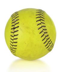 Softball or Softball over White Background
