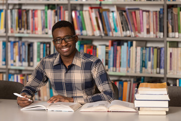 African Male Student In A Library