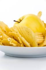 yellow apple vs yellow salty potato chips