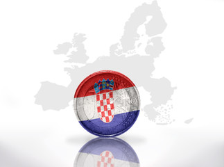 euro coin with croatian flag on european union map background