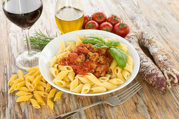 Mezze penne with sausage and tomato sauce, Italian Food