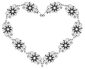 Heart shaped silhouette frame