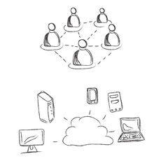 Cloud, computing, conception, sketch