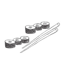vector illustration of sketch of sushi with sticks