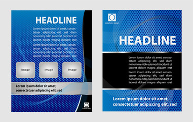 Vector empty brochure template design with bright blue
