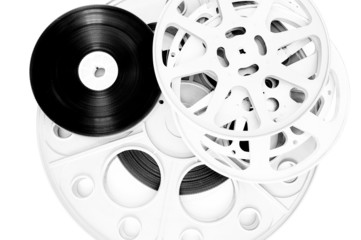 Different movie film  reel isolated on white