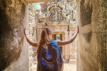 Tourist coming to the Preah Khan temple in Angkor, Cambodia
