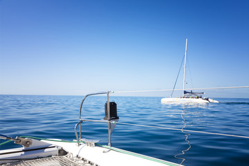 relaxing journay on a catamaran sailing boat
