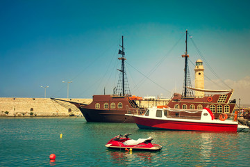 Views of the port and the lighthouse, the town of Rethymno, Cret